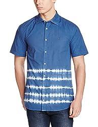 Tommy Hilfiger Mens Casual Shirt (8903876970625_P6AMW132M_Victoria Blue - Pt)