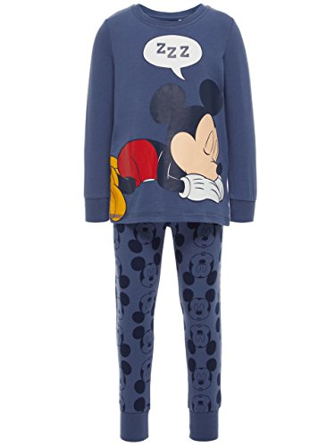 NAME IT Mini Jungen Schlafanzug Mickey Mouse Pyjama Romeo (Vintage Indigo, 98) -