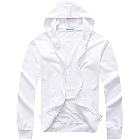 Sidiou Group zip con cappuccio degli uomini 350g w/ cap in autunno e inverno maglione bianco di trasferimento/scambio di calore termico cardigan/cappotto - 3 A Trasferimento Termico Bianco