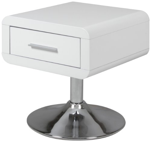 Ac design furniture 47909 - comodino josefine con 1 cassetto, colore: bianco lucido [importato da germania]