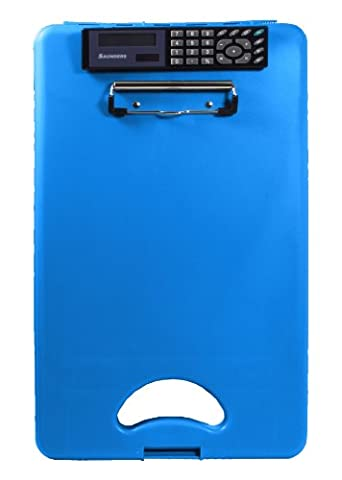 Saunders DeskMate II Plastic Storage Clipboard with Calculator, Letter Size 8.5 inch x 12 inch, Blue