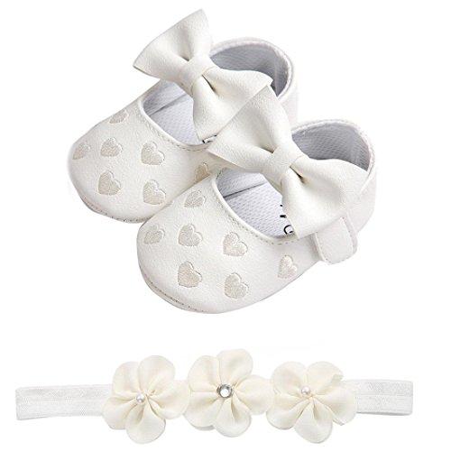 Huhu833 Babyschuhe, 2 Pcs Baby Mädchen Schuh Anti-Rutsch-Weiche Sohle Kleinkind Schuhe+ Stirnband (12~18 Month, Weiß 3)