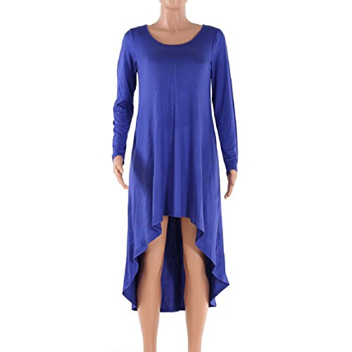 Malloom Mode Damen Langarm Unregelmäßige OAusschnitt Beiläufige Lose Kleid  Blau