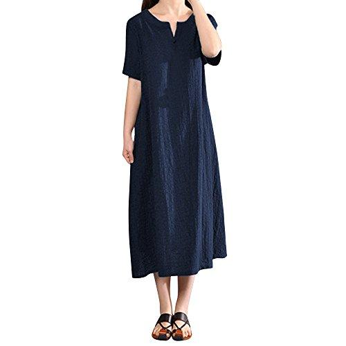 XNBZW Frauen Boho Kleid Lässige Baumwolle Leinen Solide V-Ausschnitt Kurzarm A-line Maxi Sommer Strand T-Shirt Kleid Navy 2L