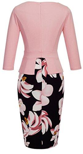 HOMEYEE Women's Vintage Cut Out Contrast Floral Evening Dress B288 (UK 12 = Size L, Light Pink + Floral – 3/4 Sleeve)