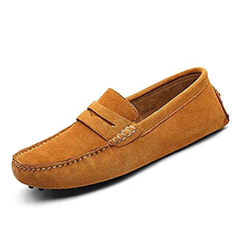 XiaoYouYu Men's Comfortable Suede Leather Penny Loafers Flat Shoes Light Brown, 12 UK