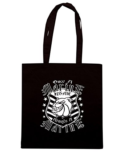 T-Shirtshock - Borsa Shopping TM0685 once a marine. always a marine Nero