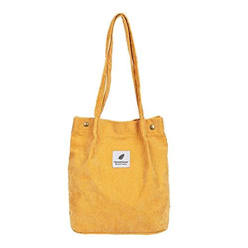 jEZmiSy Lässig große Kapazität Cord Shopping Umhängetasche Frauen Reisen Tote Handtasche Yellow