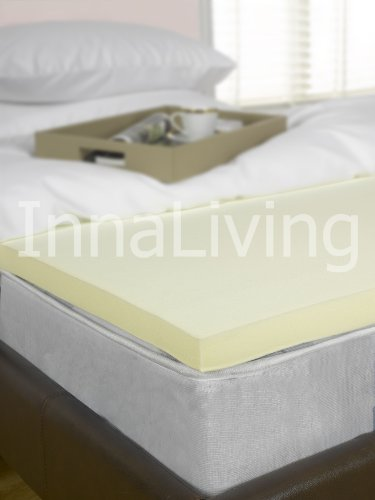 "InnaLiving 3"" Single Memory Foam Mattress Topper - UK Manfactured 75mm 2"