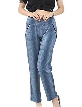 yulinge Las Mujeres De Cintura Alta Pantalones Largos Pantalones Slim Plus Size
