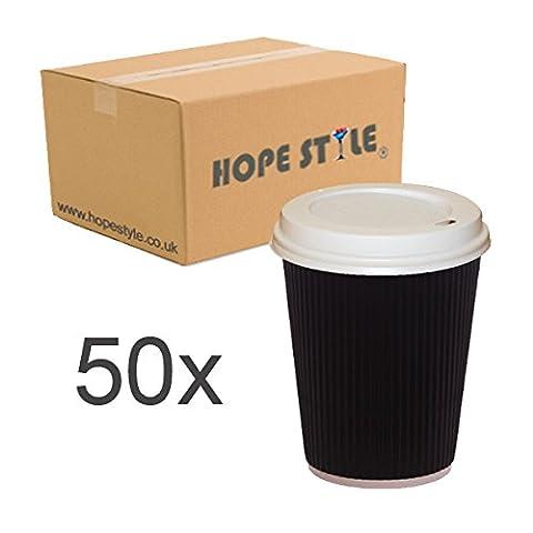 50x Black Ripple Disposable Hot Takeaway Coffee Cups (12oz-16oz,8oz) +