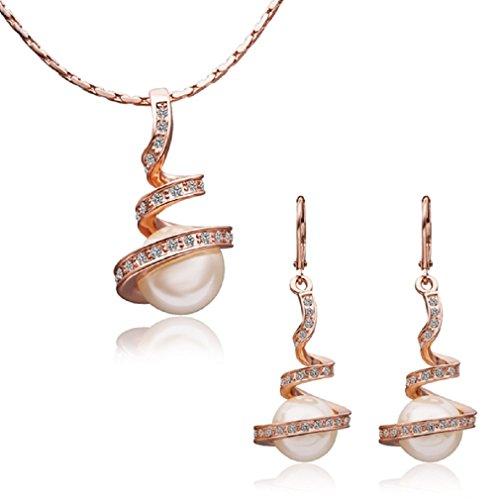 Imitación perlas chapado oro rosa CZ Collar Pendientes