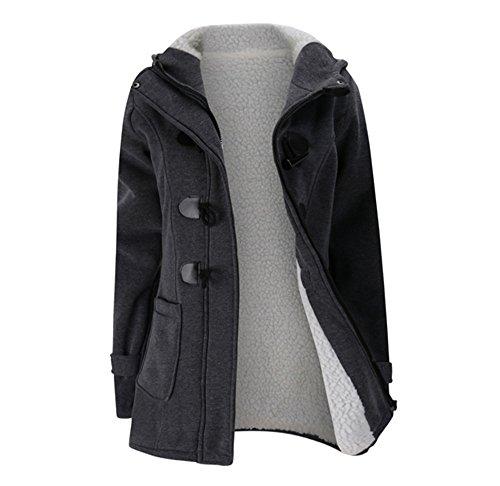 Femme Manteaux à Capuche Gilet Bouton épais Blouson épais pull à capuche Sweatshirt à capuche pardessus gris1