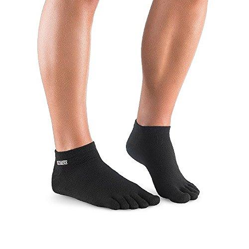Knitido Track & Trail Ultralite   Sneaker-Zehensocken mit Coolmax®-Faser, einfarbige, dünne Zehensocken, kurz, in Schwarz oder Weiß für Sport & Freizeit, Zehensocken für Herren und Damen (unisex), erhältlich bis Größe 50, Größe:39-42;Farbe:Schwarz