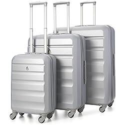 Aerolite ABS Set de 3 Valises Rigides Légeres à 4 roulettes, Bagage Cabine + 69cm + 79cm, Argent