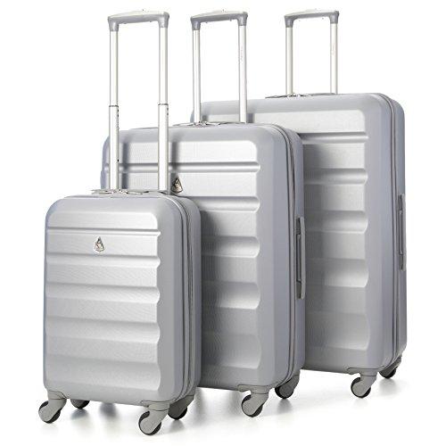 Aerolite - set di 3 trolley abs - valigie rigide e leggere con 4 ruote - bagaglio a mano ideale per compagnia low cost - medio da stiva 69cm - grande 79cm - colore argento