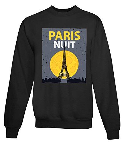 Billion Group | Night In Paris | City Collection | Women's Unisex Sweatshirt Noir
