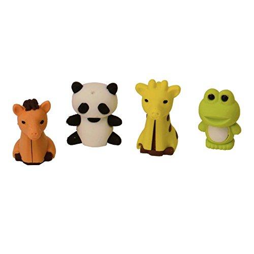 Frosch, Panda, Giraffe und Pferd Radiergummis im 4er Set - Radierer Haustiere