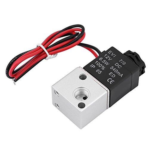 Magnetventil, 3V1-06 DC 12V / 24V 3-polig 2-polig 1/8-Zoll-BSP Normal geschlossenes pneumatisches Magnetventil, robust und nicht rostfrei, keine zusätzliche Schmierung erforderlich (DC12V)