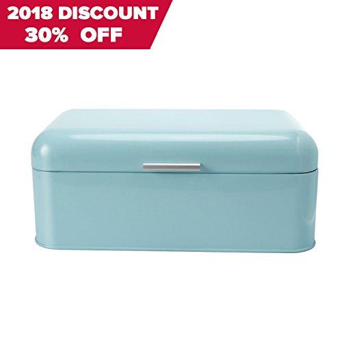 SveBake Brotkasten - Metall Brotbox mit Deckel, Retro und Vintage Design, 42 x 23 x 17 cm, Türkisblau