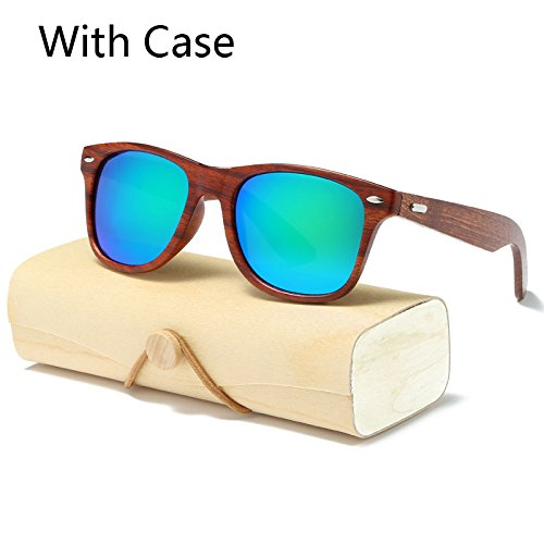 MinegRong handgefertigten Holz Sonnenbrille Männer Frauen quadratische Sonnenbrille für Männer Frauen Spiegel Holz- Sonnenbrille retro de Sol männlich 2017, KP1530 C5 mit Gehäuse