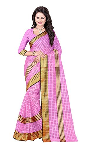 J B Fashion Women's Cotton Saree With Blouse Piece (Sarees For Women-238-Darkpink_Dark...