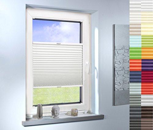 Sun World Plissee nach Maß, hochqualitative Wertarbeit, für Fenster und Türen, alle Größen, Maßanfertigung, Jalousie, Faltrollo (Farbe: Weiss, Höhe: 111-120cm, Breite: 81-90cm)