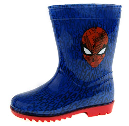Kids Boys Marvel Spiderman Snow Winter Boots Wellies Wellingtons Black Size 5-13