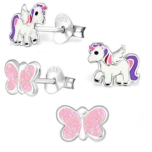 Silber Baby-mädchen (GH1a 2 PAAR Einhorn + Glitzer Schmetterling SET Ohrstecker 925 Echt Silber Mädchen Kinder Ohrringe Rosa, Lila, Weiß)