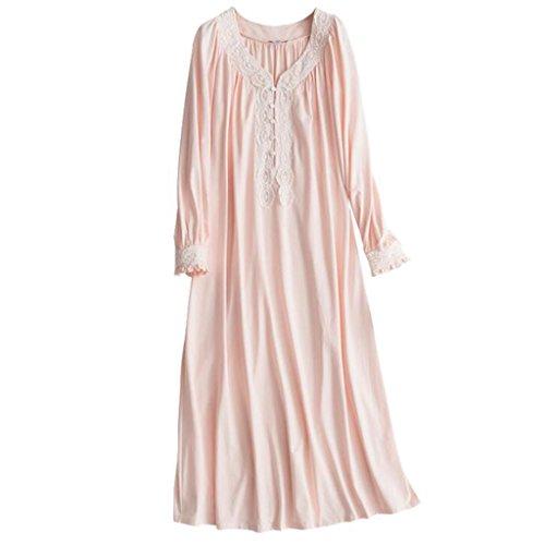 Pyjamas Sleeping Dress Female Autumn Langarm-V-Ausschnitt Modal Retro Four Seasons Cotton Home Service Rock GAOLILI (Farbe : Pink, größe : S)