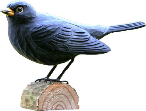 Amseln Tiere (Wildlife Garden Dekovogel Holzvogel - Amsel - Handgeschnitzt)
