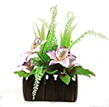 Parishi & W Artificial plant glowing arrangement in wooden Pot (Multicolour)