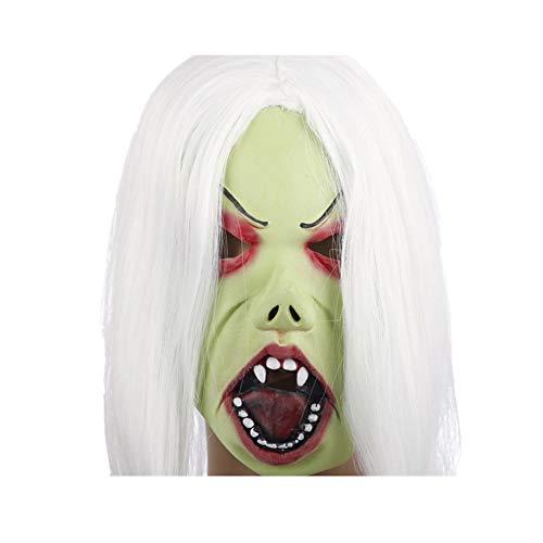 orror Latex Maske Streich Requisiten Make-up Party Kostüm (Weißen Haares Hellgrün Gesichts Hexen Muster) ()