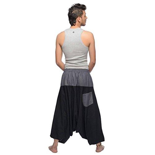 Haremshose Pumphose Aladinhose Pluderhose Yoga Goa Sarouel Baggy Aladin Freizeithose Simandra Herren (Braun, S/M) - Bild 4