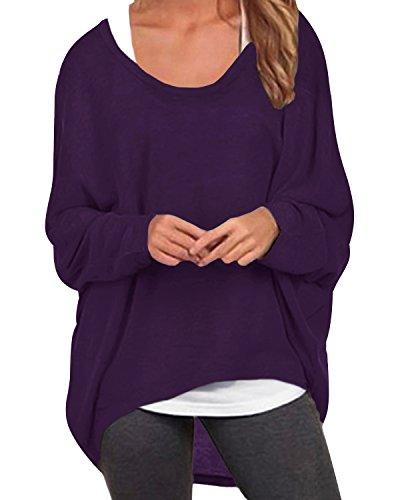 ZANZEA Damen Lose Asymmetrisch Jumper Sweatshirt Pullover Bluse Oberteile Oversize Tops Lila EU 38-40/Etikettgröße M - Lila Tunika Pullover