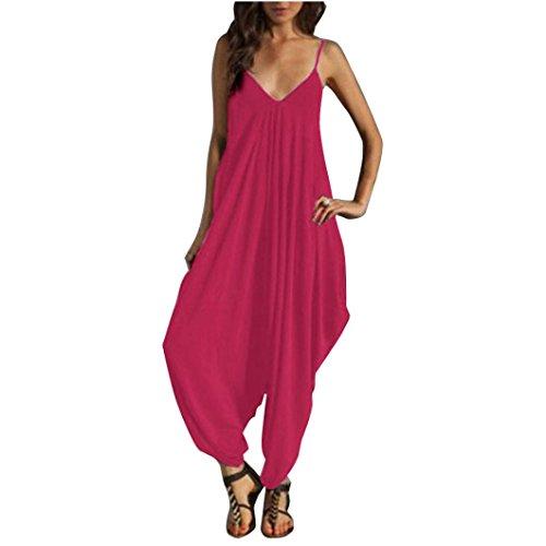 chnitt Camisole dünne lose Strap Strappy Baggy Jumpsuit Playsuit (Leuchtendes Rot, S) (Rot Dorothy-schuhe Für Mädchen)