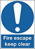 """Signs and Labels AMZFR07150R """"A4 Fire Escape Keep Clear"""" Mandatory Safety Sign, 1.2 mm Rigid Polypropylene, 297 mm Length x 210 mm Width"""