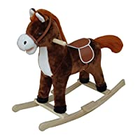 """A to Z """"Rocking Horse with Sound and Moving Mouth and Tail Toy (Dark Brown)"""