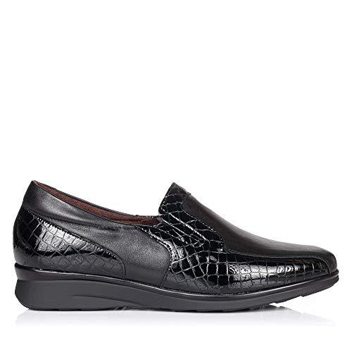 PITILLOS 5703 Zapato Mocasin Piel Confort Mujer Negro 39