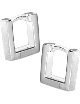 Vinani Damen-Klapp-Creolen viereckig mattiert glänzend Sterling Silber 925 Ohrringe CMQ
