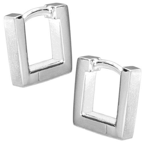 Vinani Klapp-Creolen viereckig mattiert glänzend Sterling Silber 925 Ohrringe CMQ