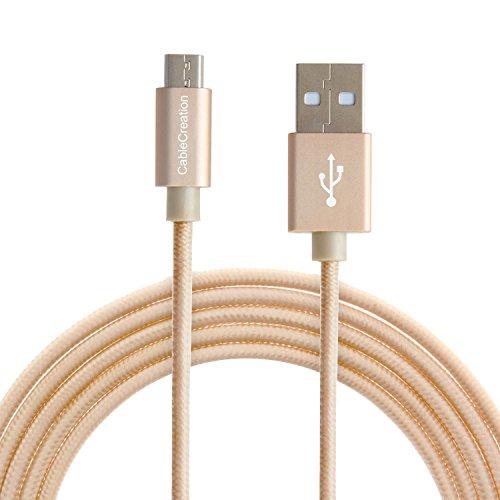 CableCreation USB 2.0 auf Micro-USB-Kabel (4 FT), dreifach geschirmtes Hochgeschwindigkeits-Geflechtkabel kompatible mit Samsung, Nexus, LG, Motorola, Android-Smartphones usw, golden,Baumwolle& Aluminium