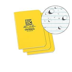 Rite In The Rain Gebundener, wasserfester Mini-Notizblock Wasserdichtung (3er-Pack), Unisex, Staple Bound Mini Waterproof, gelb