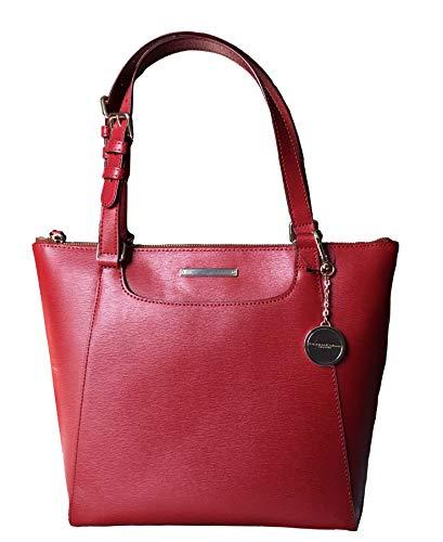 Donna Karan New York (DKNY) Top Double Handle Handbag, Genuine Leather, Red