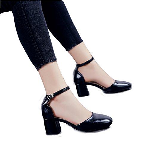 Hyun Times Chaussures Noires Sandales à Pied Carré D'Été Épais avec la Boucle de Mot avec des Chaussures