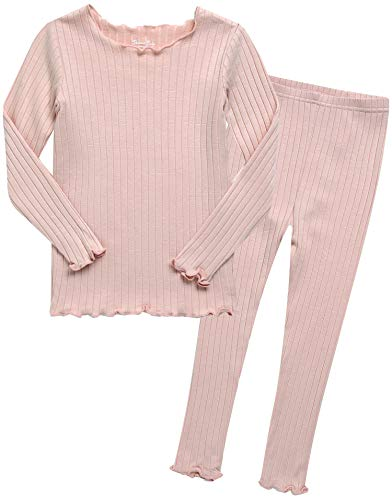 Kleinkind Maedchen Md Langarm zweiteilig Schlafanzug Modal Pajamas 2pcs Set Shirring Peach M -