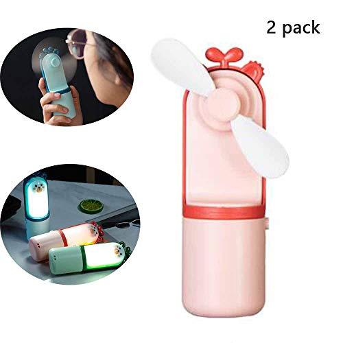 FZYUAN Nachtlicht kleine Tischventilator Multifunktions-Cartoon Mini-Fan USB wiederaufladbare tragbare kleine Lüfter LED Nachtlicht 2er Pack,Pink (Fahrrad-licht 2er-pack)