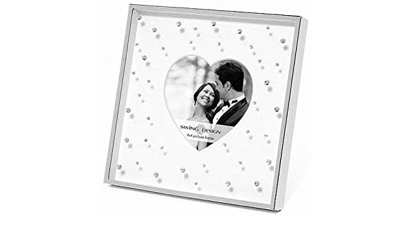 The Original CELIA HEART DESIGN Silverplate w//Crystals 4x6 matted frame by Swing Design 4x4