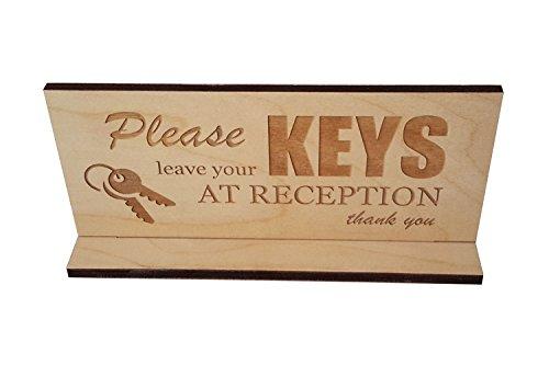 'Bitte hinterlassen Sie bei Empfang'-Desktop freistehend Holz Schild -