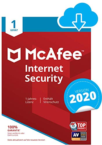 McAfee Internet Security 2020 | 1 Gerät | 1 Jahr | PC/Mac/Smartphone/Tablet | Download Code